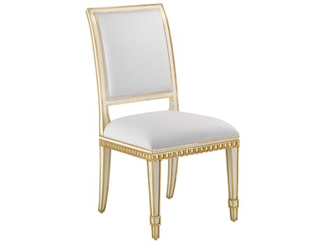 Currey & Company Ines Ivory / Antique Gold Muslin Side Dining Chair