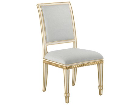 Currey & Company Ines Ivory / Antique Gold Mist Side Dining Chair