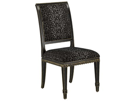Currey & Company Ines Caviar Black / Antique Panther Side Dining Chair