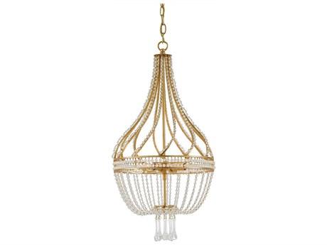 Currey & Company Ingenue Antique Gold Leaf Four-Light 14'' Wide Mini-Chandelier