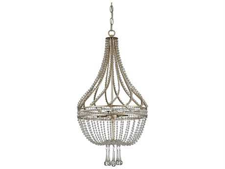 Currey & Company Ingenue Chinois Antique Silver Four-Light 14'' Wide Mini-Chandelier CY9634