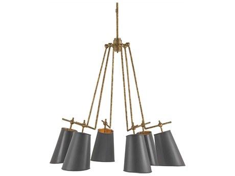 Currey & Company Jean-Louis Old Brass Six-Light 30'' Wide Chandelier CY9503