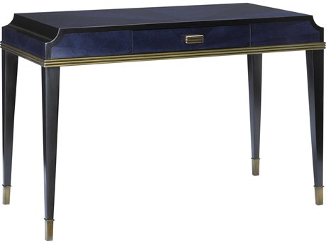 Currey & Company Kallista Dark Sapphire / Caviar Black Antique Brass Secretary Desk