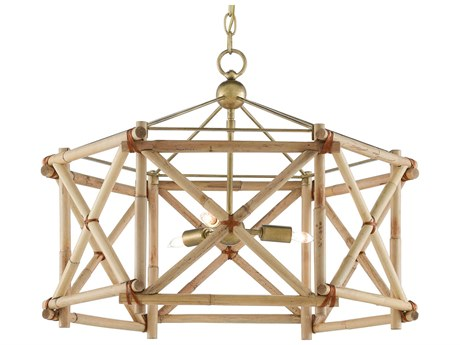 Currey & Company Kingali Natural / New Brass 3-light 25'' Wide Pendant