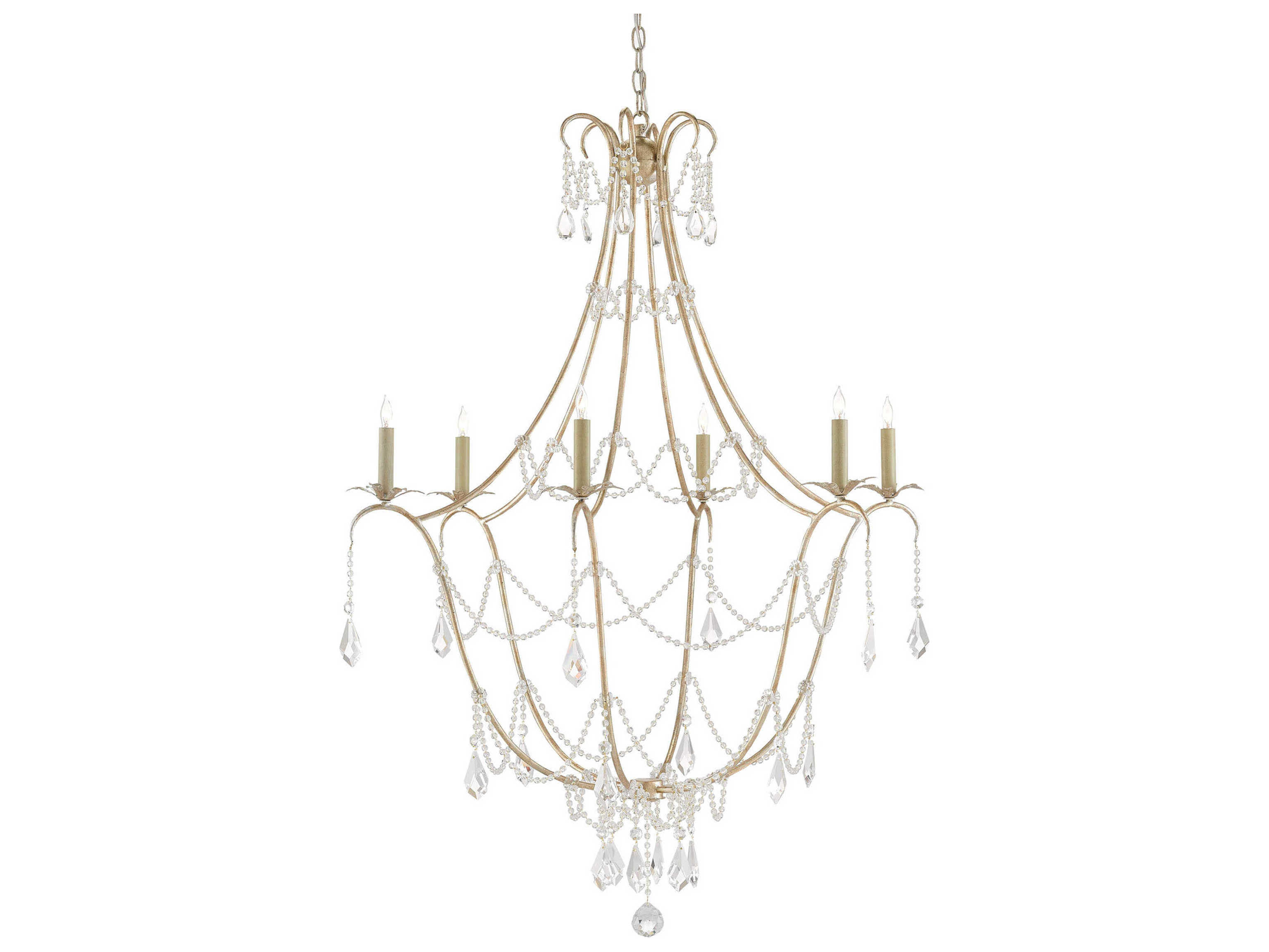 Currey And Company Lillian August Silver Granello Six Light 35 5 Wide Elizabeth Chandelier