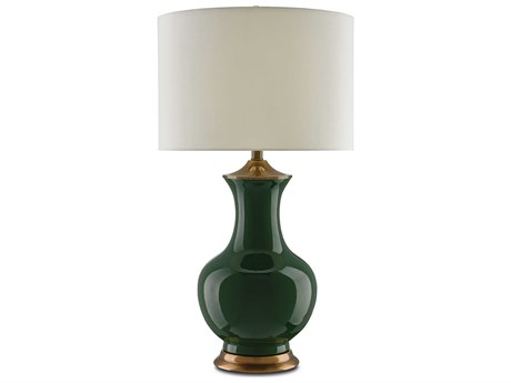 Currey & Company Lilou Green / Antique Brass Edison Bulb 17'' Wide Buffet/Table Lamp with Eggshell Shantung Shade