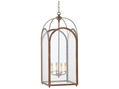 Currey & Company Rustic Gold Four-Light 14'' Wide Mini-Chandelier