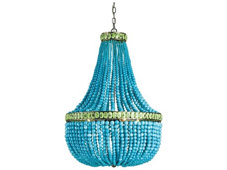 Currey & Company Marjorie Skouras Turquoise Hedy Three-Light 22'' Wide Grand Chandelier CY9770