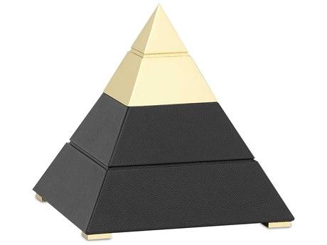 Currey & Company Mastaba Black / Polished Brass Decorative Accent