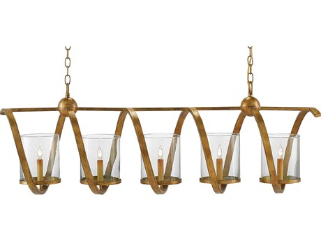 Currey and Company Maximus Washed Gold Leaf Five-Light 47'' Wide Island Light