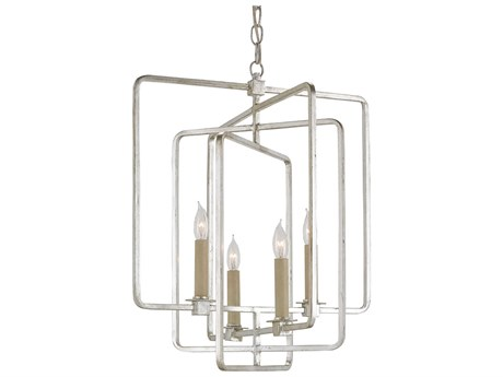 Currey & Company Metro Square Silver Four-Light 18'' Wide Mini Chandelier CY9743