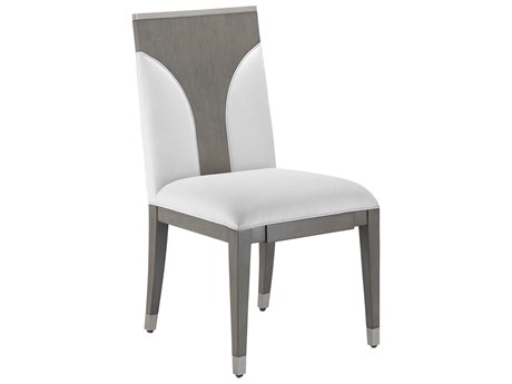 Currey & Company Mirra Chateau Gray / Brushed Steel Muslin Side Dining Chair