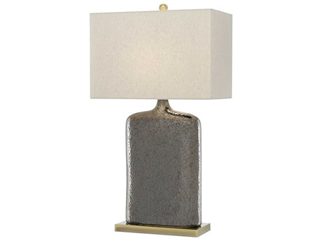 Currey & Company Musing Rustic Metallic Bronze / Bronze Edison Bulb 18'' Wide Buffet/Table Lamp with Khaki Linen Shade CY60000094