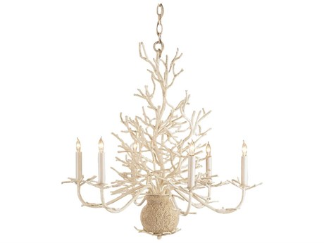 Currey & Company Seaward White Coral Six-Light 29'' Wide Chandelier CY9218