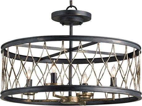Currey & Company Crisscross French Black Four-Light 22'' Wide Mini-Chandelier CY9902