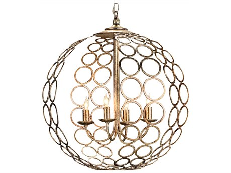 Currey & Company Tartufo Silver Four-Light 20'' Wide Mini-Chandelier CY9961
