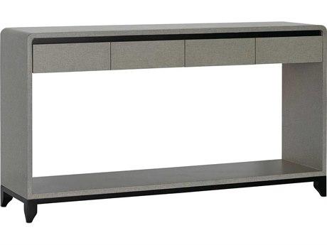 Currey & Company Nicolene Lacquered Gray Linen / Caviar Black 60'' Wide Rectangular Console Table