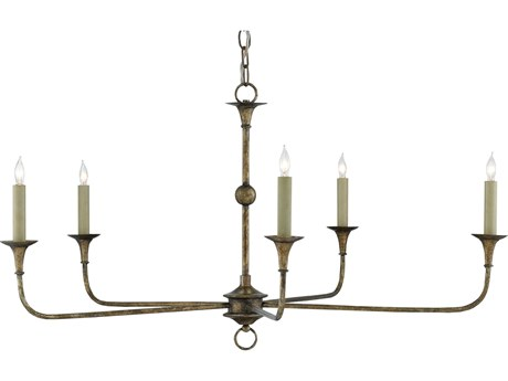 Currey & Company Nottaway Small Pyrite Bronze Five-Light 36'' Wide Chandelier CY90000143