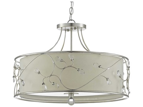 Currey & Company Contemporary Silver Leaf 3-light 24'' Wide Crystal Pendant