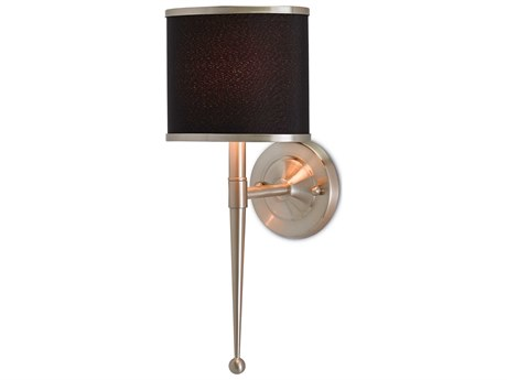 Currey & Company Primo Satin Nickel 8'' Wide Wall Sconce with Black Shade CY50000021