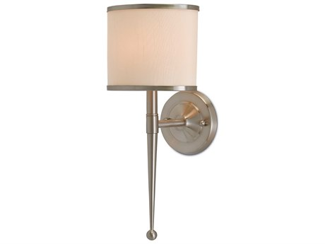 Currey & Company Primo Satin Nickel 8'' Wide Wall Sconce with Cream Shade CY50000033
