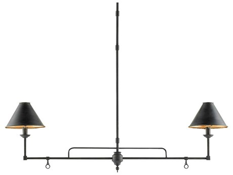 Currey & Company Prosperity French Black / Contemporary Gold Leaf Two-Light 44.5'' Wide Island Light CY90000114