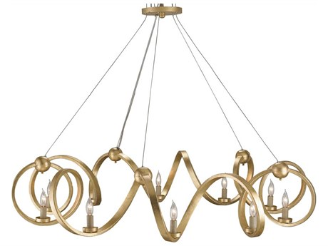 Currey & Company Ringmaster Contemporary Gold 10-Light 46'' Wide Grand Chandelier CY9490