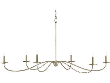 Currey and Company Saxon Silver Granello Six-Light 63'' Wide Chandelier CY90000055