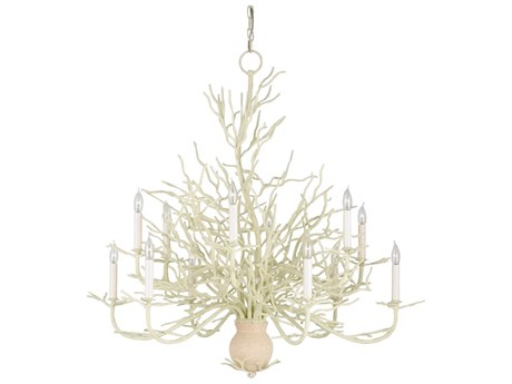 Currey & Company Seaward White Coral Twelve-Light 39'' Wide Chandelier CY9188