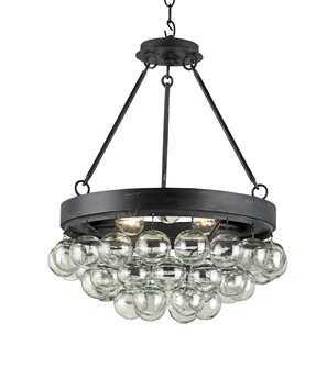 Currey & Company Balthazar French Black Three Light Semi-Flush Mount Light CY9887