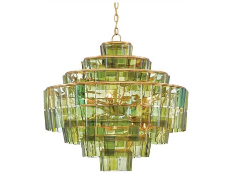 Currey & Company Sommelier Dark Contemporary Gold Leaf / Green Eight-Light 27'' Wide Chandelier