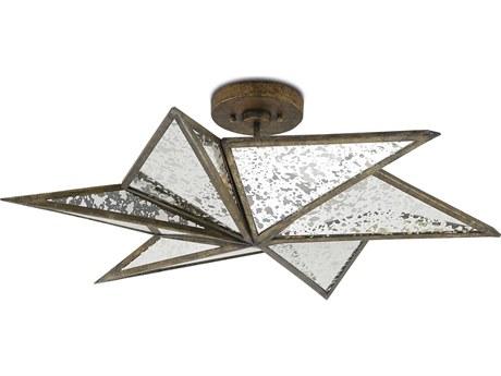 Currey and Company Stargazer Pyrite Bronze Three-Light 30'' Wide Semi-Flush Mount CY99990031