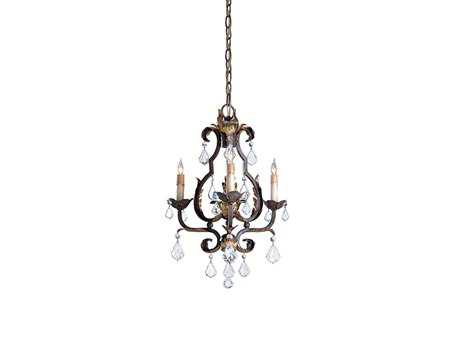 Currey & Company Tuscan Gold Three-Light 17'' Wide Mini Chandelier CY9829