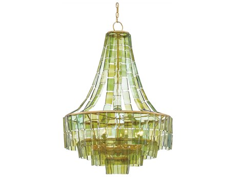 Currey & Company Vintner Dark Contemporary Gold Leaf / Green Seven-Light 27'' Wide Chandelier CY90000147
