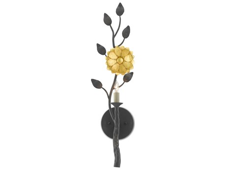 Currey & Company French Black / Contemporary Gold Leaf 1-light Wall Sconce