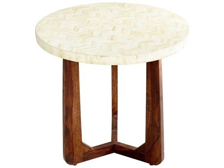 Cyan Design Brown and Ivory 24'' Wide Round Archie End Table C308984