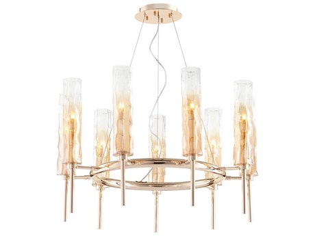 Cyan Design Balanchine Satin Gold with Ombre Amber Glass Nine-Light 29'' Wide Chandelier C308537
