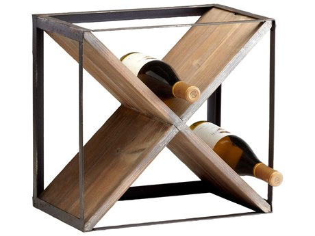 Cyan Design Cube Raw Iron & Natural Wood Wine Rack C304859
