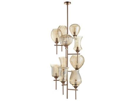 Cyan Design Darcey Satin Copper with Cognac Glass Ten-Light 21'' Wide Grand Chandelier C307950