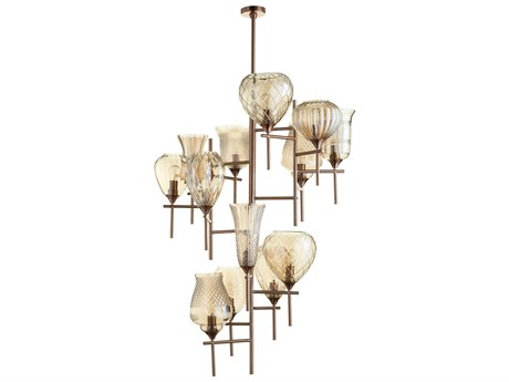 Cyan Design Darcey Satin Copper with Cognac Glass 13-Light 40.5'' Wide Grand Chandelier C307951