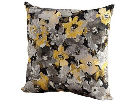 Cyan Design Grey & Gold Field of Flowers Pillow C306515