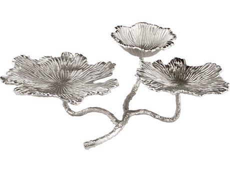 Cyan Design Flowers and Flames Silver Candle Holder C308084