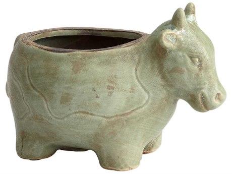 Cyan Design Friendly Cow Green Glaze Planter C308764