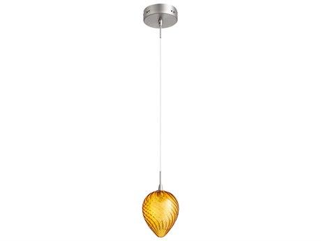 Cyan Design Satin Nickel with Orange Glass 5'' Wide Mini-Pendant Light C307636