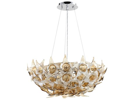 Cyan Design Moon Lillie Chrome with Cognac Glass Seven-Light 26'' Wide Pendant Light