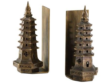 Cyan Design Gold Leaf Set of 2 Pagoda Bookends