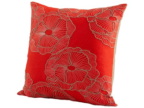 Cyan Design Red Petunia Pillow C306523