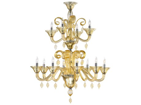 Cyan Design Treviso Chrome With Amber 38 Wide Glass Medium Chandelier C364931214