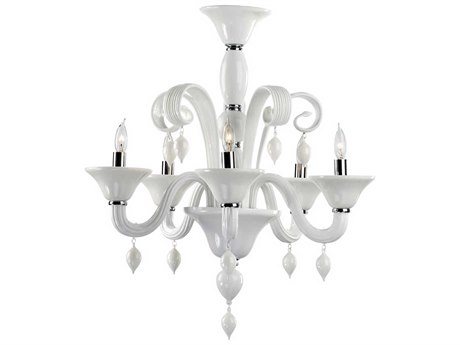 Cyan Design Treviso Chrome & White Five-Light 24'' Wide Chandelier C36496514