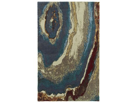 Dalyn Formations Geode / Navy Turquoise Sky Blue Taupe Beige Gold Copper Brown Rectangular Area Rug
